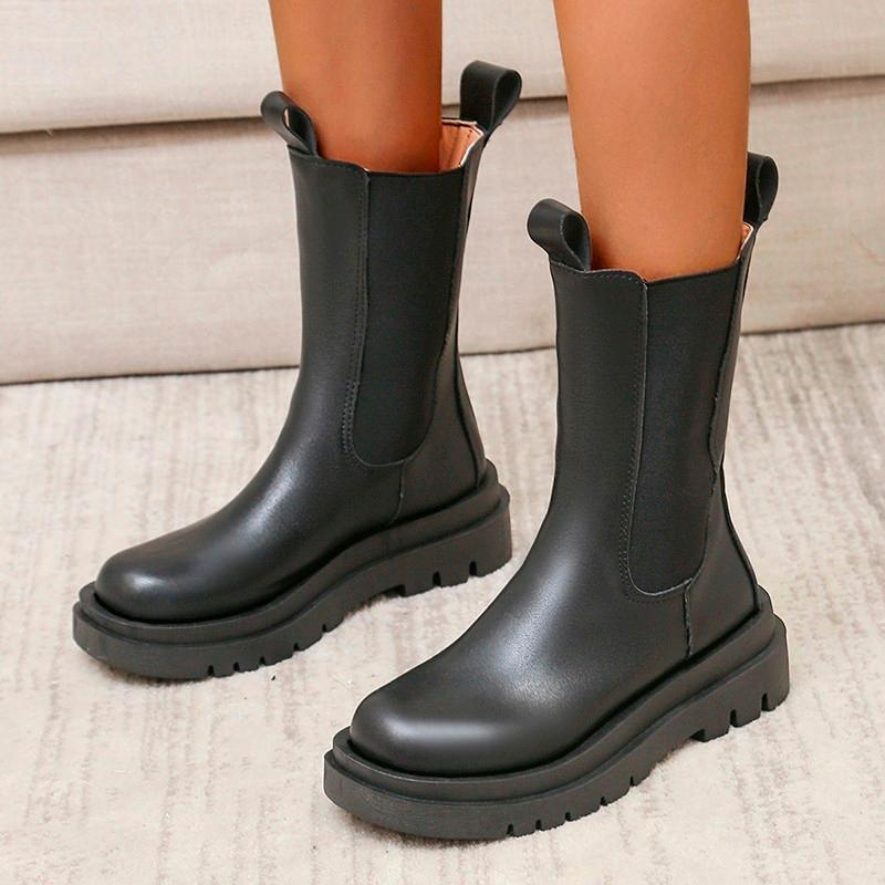 Boots Winter Women Elastic Band Fashion 5cm Double Sole Chunky Heel Antiskid Platform Ankle Shoes Woman Boats