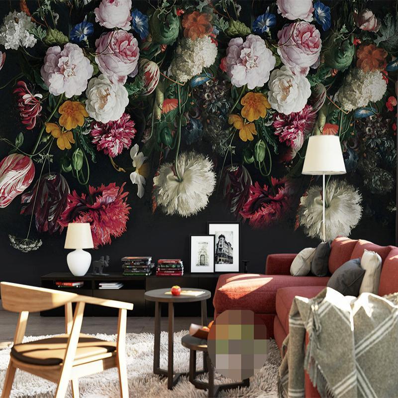 Wallpapers de parede personalizado pano 3d mural papel de parede para paredes retro mão pintada pintura floral sala de estar quarto cobrindo flor