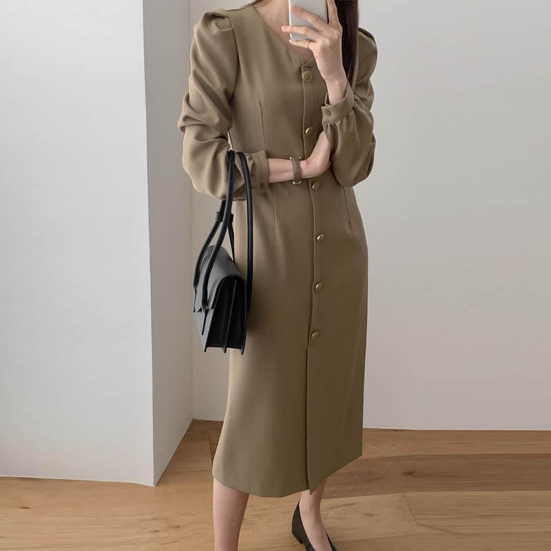 Abiti da donna monopetto monopetto vintage donna slim donna a maniche a maniche a sbuffo per uffici midi abito femminile primavera party coreano 2021 casual