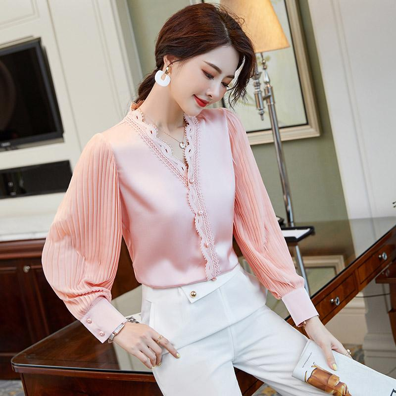 Smooth Satin Runway Pink Shirt 2021 Designer Streetside Cafe V-Neck Casual Silk Blouses Long Sleeve Spring Autumn Winter Sweet Business Office High-End Fashion Tops
