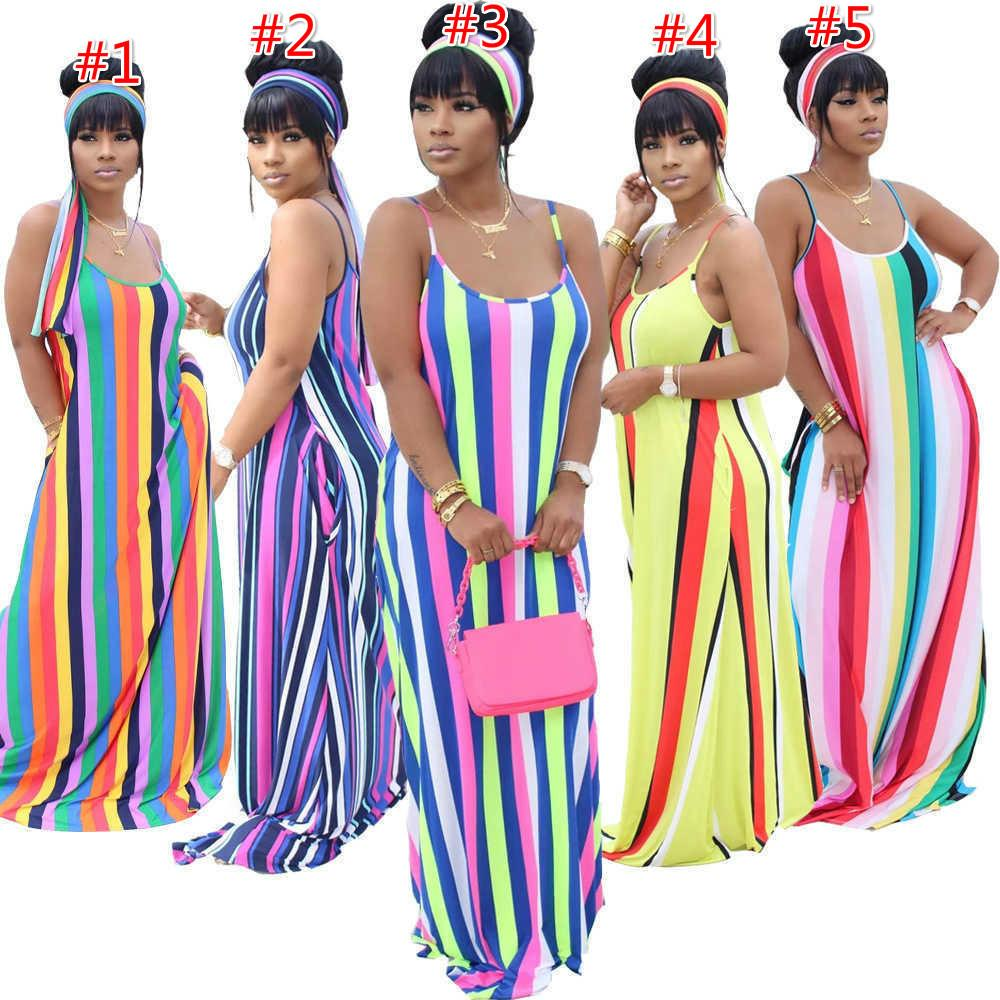 Sexy Sleeveless Women Long Maxi Dress Fashion Summer Colourful Stripe Printing Loose Casual Suspender Dresses With Headscarf Plus Size
