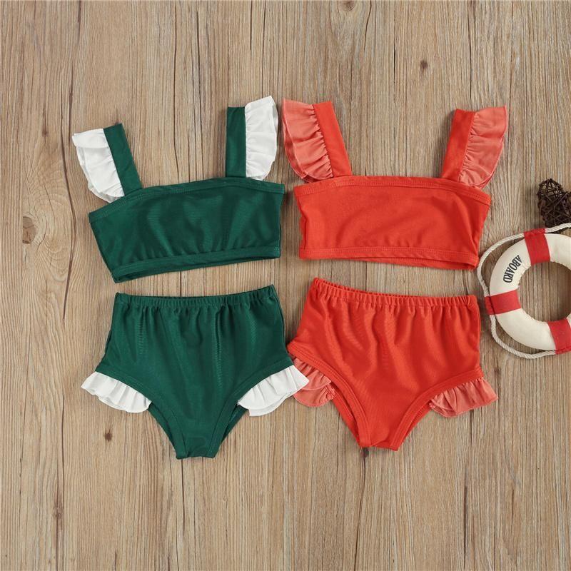 2pcs 비키니 수영복 아기 소녀 수영복 레이스 어깨 탱크 탑 삼각형 반바지 빨간색 / 녹색 해변 수영 수영복 한 조각