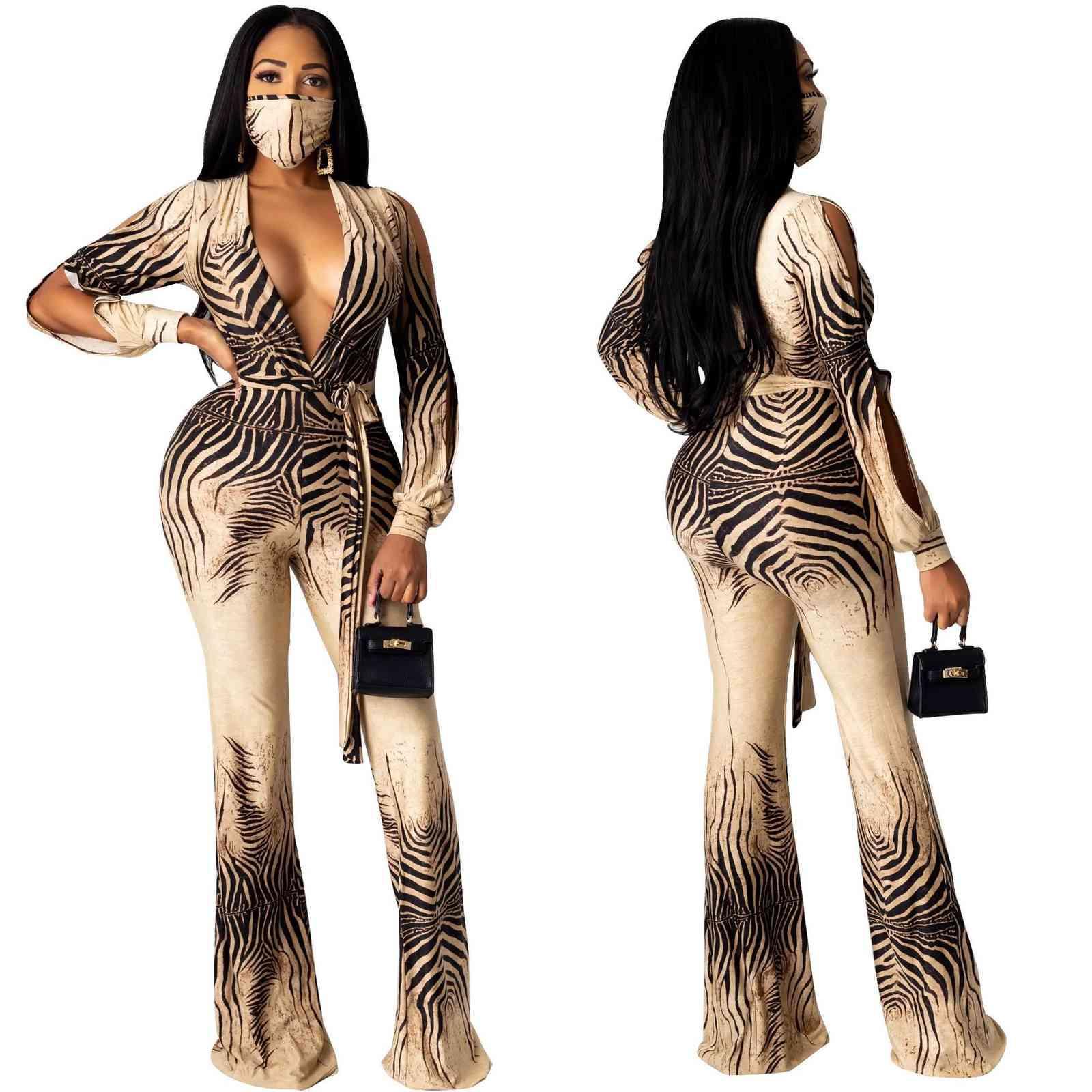 Tute Donna Eleganti الشتاء أحدث الأزياء العميق الخامس الرقبة مع الزنانير نحيل حللا السيدات طباعة الكاكي مايكرو بيل قيعان رومبير 210414
