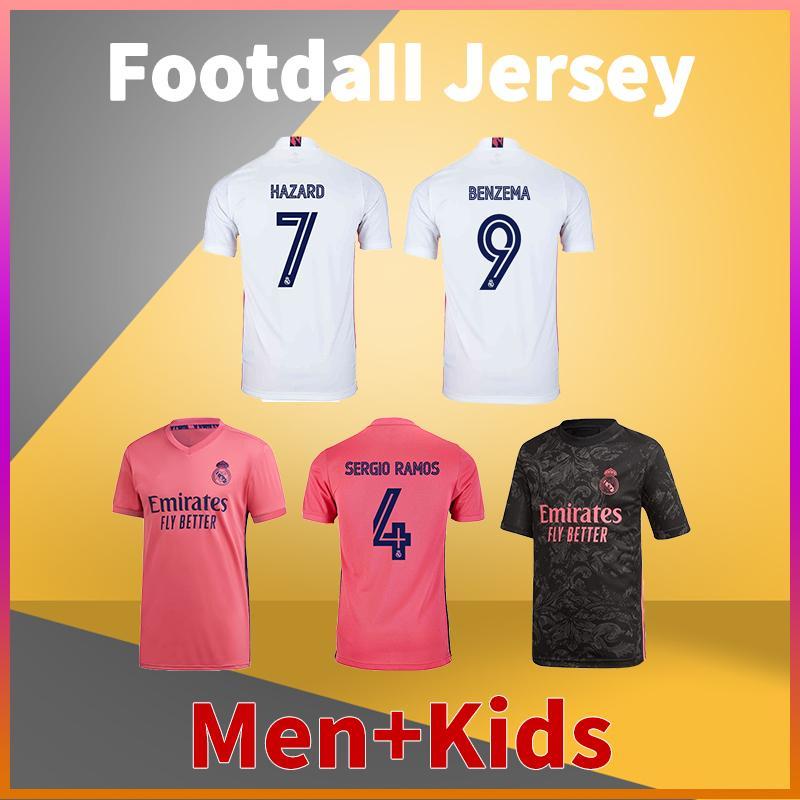 Real Madrid Casa Away Third Soccer Jersey 20 21 Sergio Ramos Isco Hazard Kroos Modric Asensio Vini JR Benzema Camicia da calcio Benzema Men Tshirts + Kid Kit Uniform