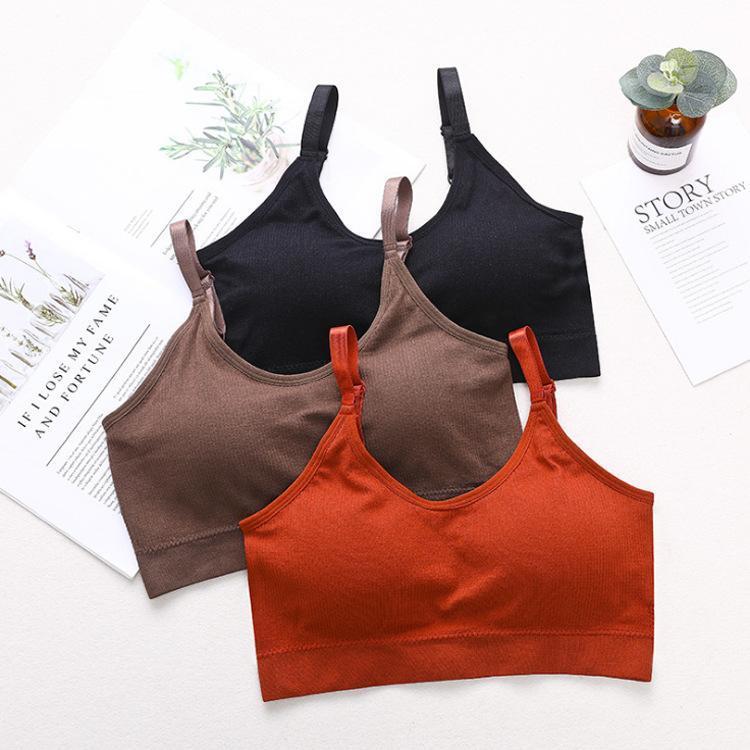 Sport-BHs für Frauen hohe Wirkung atmungsaktive Erntegut-Yoga-Sling-Weste gepolsterte stoßfeste BH-Massivfarbe Workout Bralette Outfit