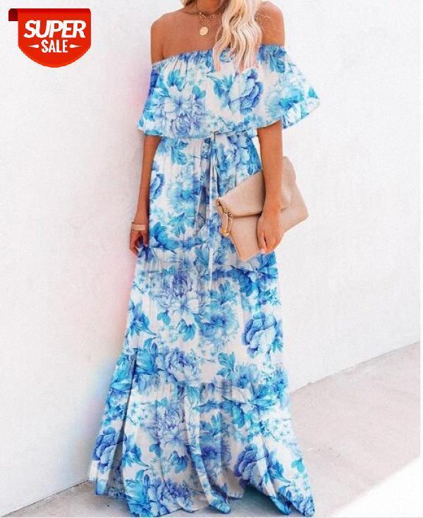 [auf Lager] Europäische und amerikanische Frauen Dunhuang Wrap-Chested Printed Big Plaid Rock Blue Dress # 2m6q