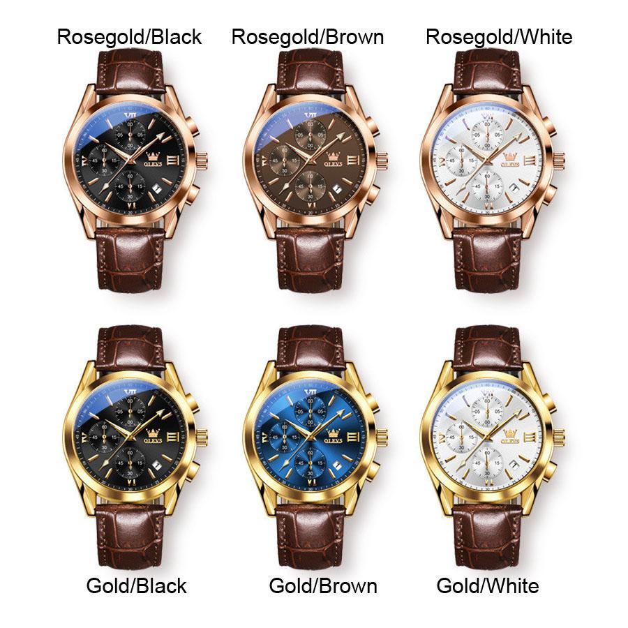 Olevs 럭셔리 시계 남성 손목 시계 여성 손목 시계 30m 방수 쿼츠 relogio 로마 숫자 3 다이얼 6 아날로그 시계 정품 가죽 날짜 로즈 골드 케이스