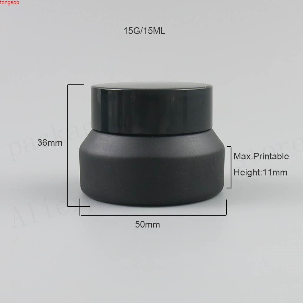 20 x 15 g 30g 50g Frost Black Make Up Frasco de vidrio con tapas de sello blanco envasado cosmético, crema pottas