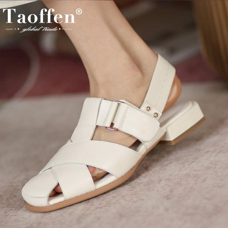 Sandalen Taillen Größe 33-40 Frauen Wohnung Echtleder Sommerschuhe für Mode Casual Urlaub Schuhe
