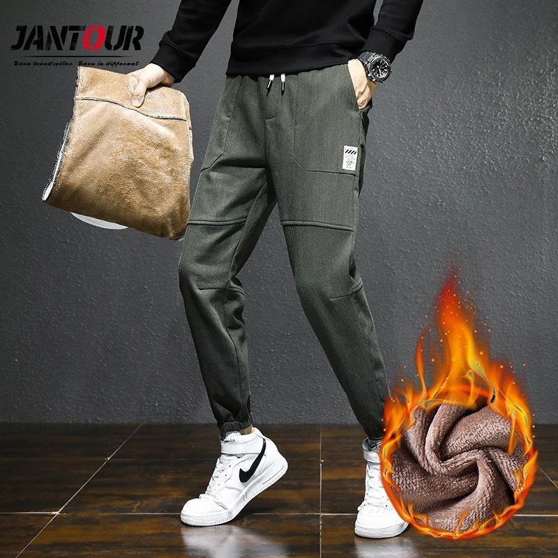겨울 남성용 따뜻한 두꺼운 하렘 바지 패션 블랙 그레이 육군 - 녹색 양털 느슨한 바지 남성 브랜드 큰 크기 28-36 38