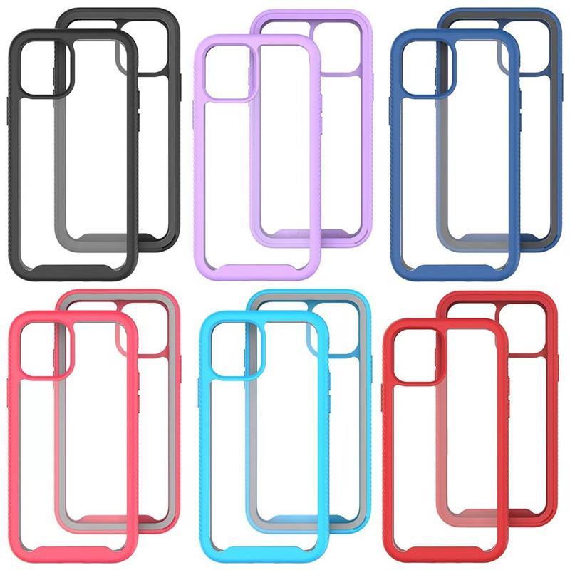 Cajas de teléfono de armadura transparente para iPhone 11 12 Pro Max Mini 6 7 8 XS XR SE SAMSUNG GALAXY S30 S21 A52 A32 4G A71 A51 A72 5G A21S A02 A11 TPU PC PC Tapa posterior de la celda de la caída pesada