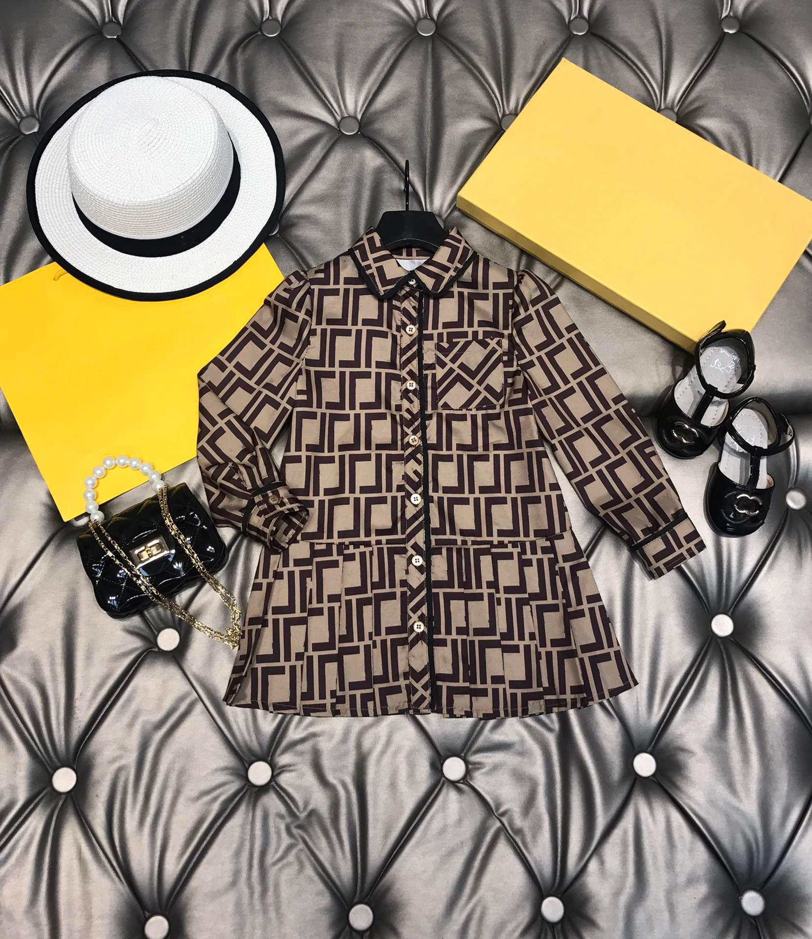 luxury girls skirts dresses autumn ff print children brown skirt long sleeve cotton princess wear size 100-150