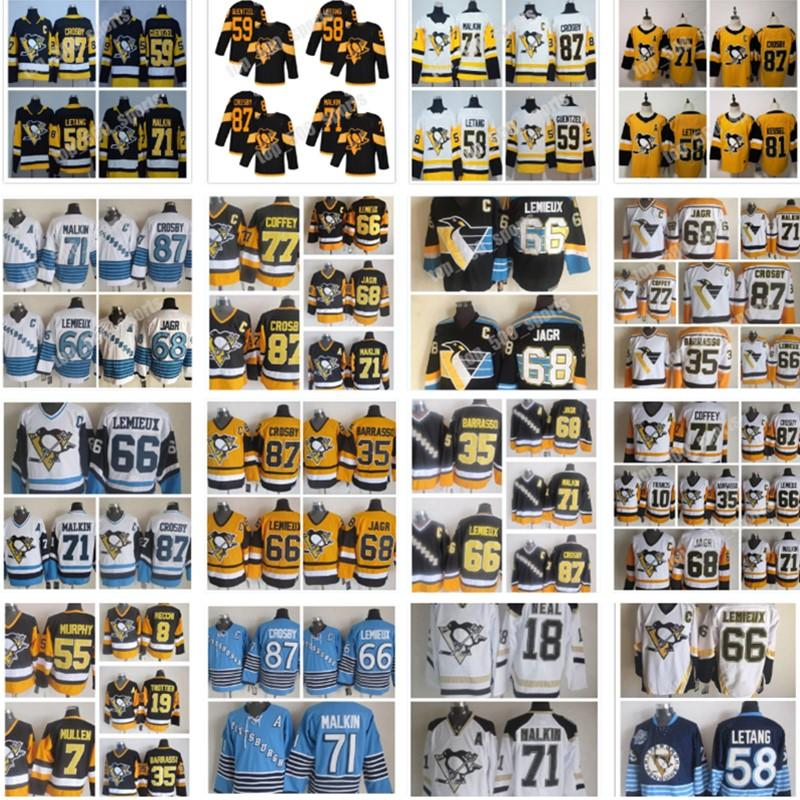 피츠버그 펭귄 저지 87 Sidney Crosby 71 Evgeni Malkin Phil Kessel Kris Letang Lemieux Matt Murray Guentzel Hockey Jerseys