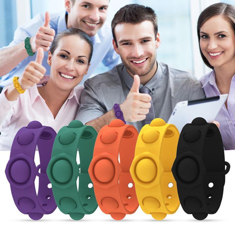 Push Bubble Finger Spielzeug Silikon Zappeln Einfache Grübchen Pop Armband Armband Uhrband Riemen Spielzeug Männer Frauen Squeeze Bubbles Dekompression Interessante Geschenke