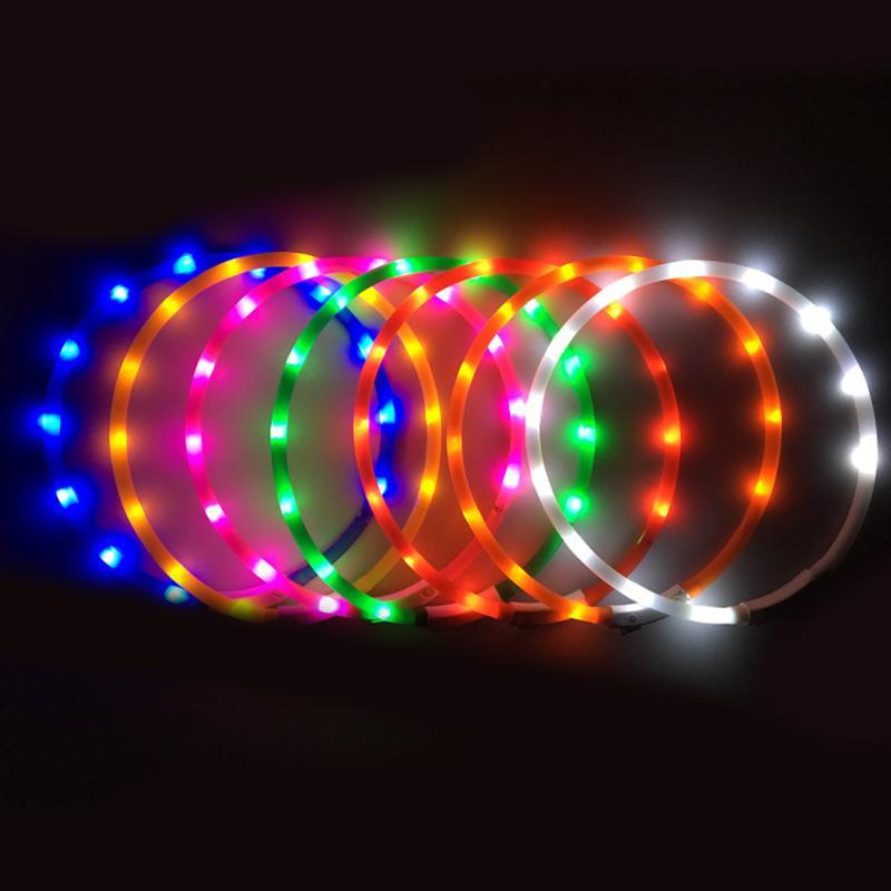 Dogs Collars USB Rechargeable Flashing Night Cats Pet Dog Glowing Collar Teddy Luminous LED Light