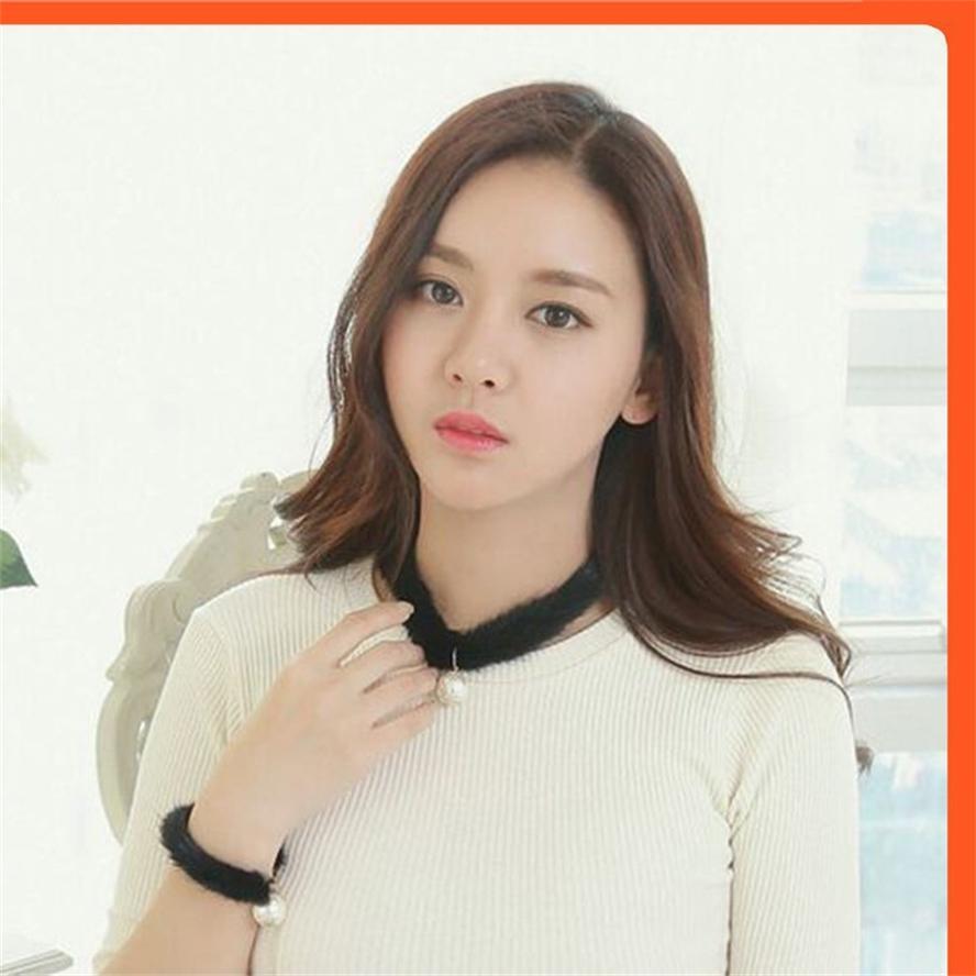 Coréen populaire mink cheveux courts perles collier femmes couker chaîne collier col de cou bijoux