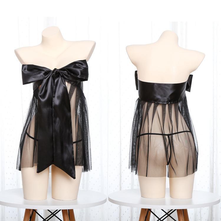 BHS Sets Backless Dessous Sexy Gaze Nachthemd Stretch Wrap Bosom Big Bowknot Krawatten Typ Netto Outfit
