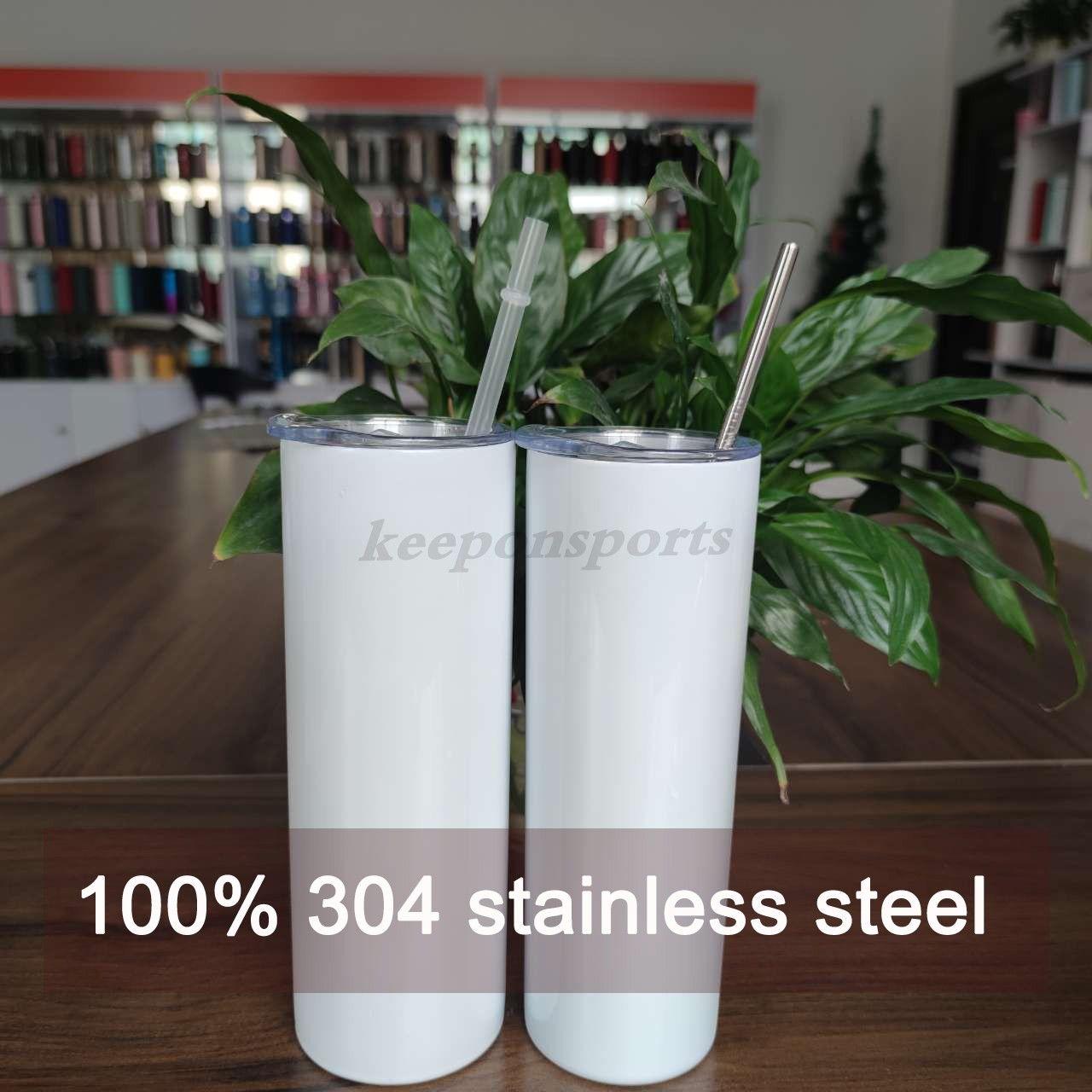 2021 Sublimação em linha reta em branco Embalagens de aço inoxidável caneca copos de vinho isolado com canudos vácuo 20oz garrafas de água canecas FY4275