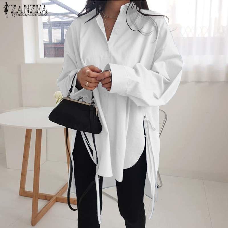 패션 솔리드 셔츠 여성 비대칭 블라우스 2020 잔존 캐주얼 레이스 업 Blusas 여성 버튼 옷깃 셔츠 플러스 크기 튜닉 5XL1