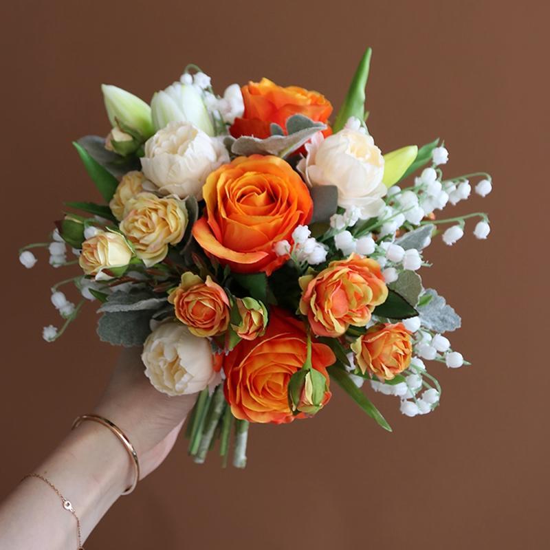 Turuncu Gelin Buketi Düğün Çiçek Gelin Ev Partisi Dekorasyon Ramos De Flores Para Novias Mariage Aksesuarları