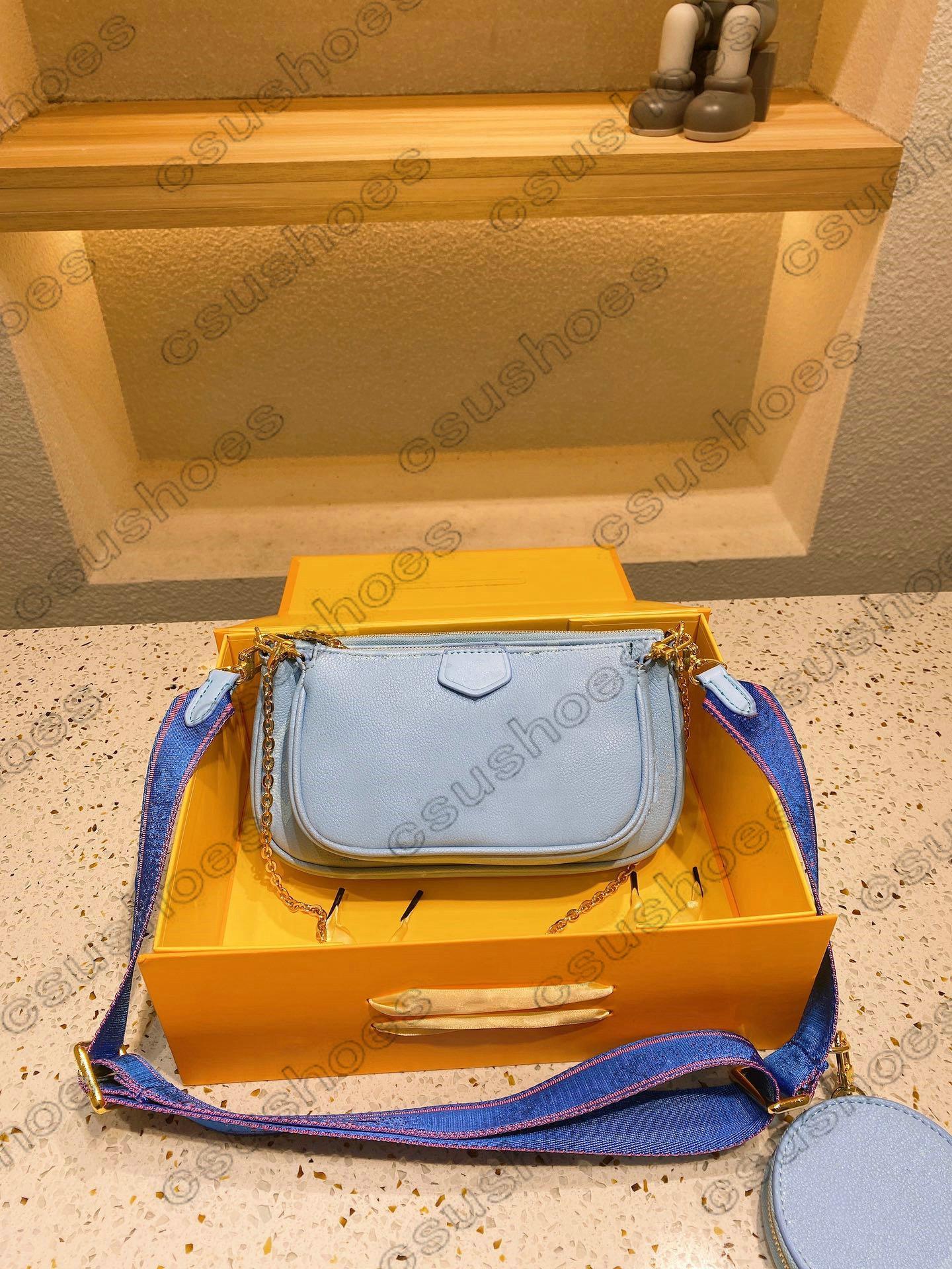 Mehrere Mini-Pochete Accessoires Multi Canvas Cross Body Bag Sommer 2021 am Pool Leder Runde Reißverschluss Münze Geldbörse 3Pcs Sets Luxurys Designer Umhängetaschen