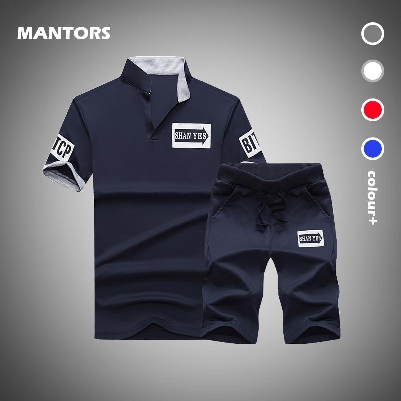 Summer Tracksuits Men Set T-shirt Sportswear Nouveau t-shirt V-Col 2 pièces Ensemble Casual Homme TrackSuit Ensembles courts Slim Outfits 210330