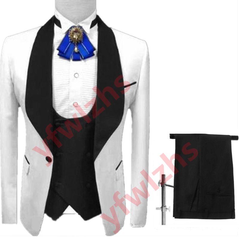 Classic One Button Wedding Tuxedos Shawl Lapel Slim Fit Suits For Men Groomsmen Suit Prom Formal (Jacket+Pants+Vest+Tie) W706