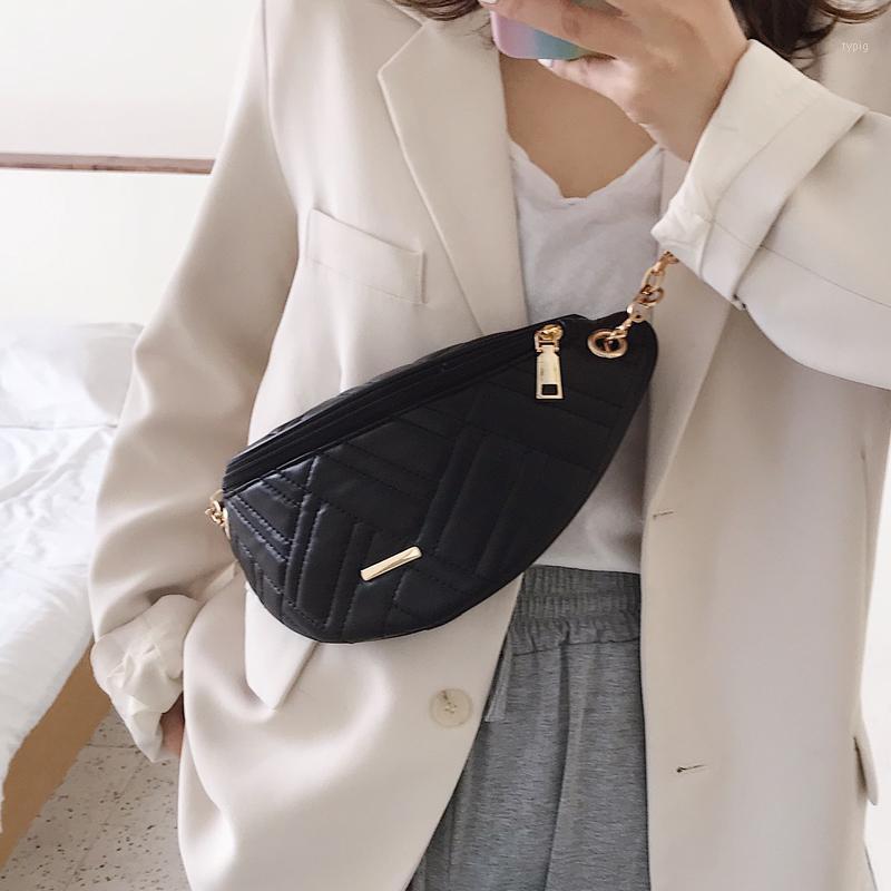 بسيطة بسيطة الخصر حزم للنساء 2020 الصيف حقائب الصيف الإناث الأزياء الهاتف المحافظ سلسلة أبيض السفر حزام حقيبة 1