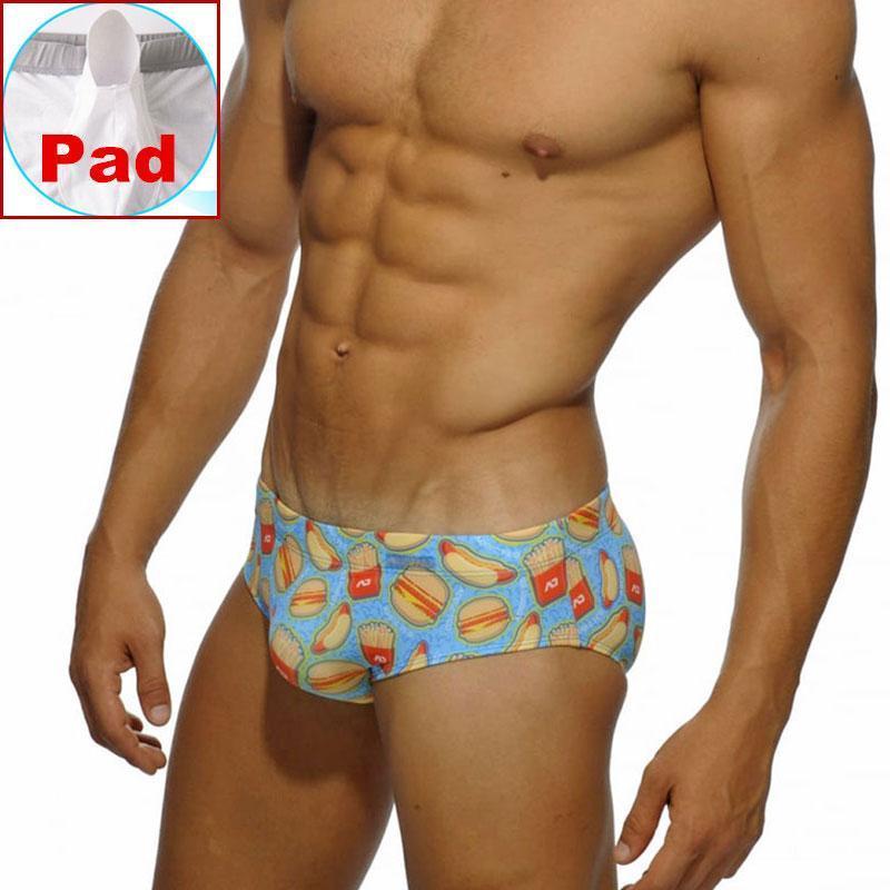 남자 패드 수영복 팬티 수영 트렁크 망 낮은 허리 햄버거 비치 서핑 반바지 수영 트렁크 짧은 남성 수영복 비치웨어 남자