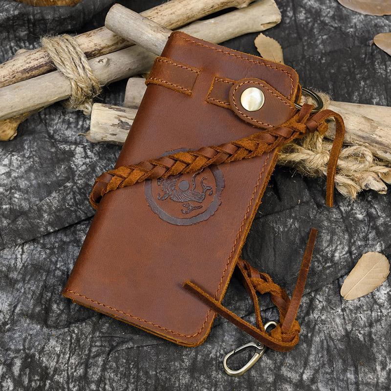 Luufan خمر محفظة جلدية مع مضفر حزام مخلب حقيبة للنساء السيدات الرجال الهاتف تنقش محفظة محفظة
