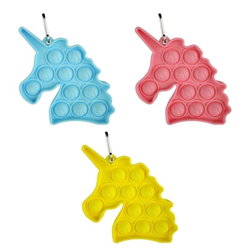 Llavero lindo de unicornio Push Bubble Bubble Poppers Poo-su computadora de escritorio Puzzle Toy Pop Sensory Fidget Pads Llavero Tenedor para niños adultos H41G53B