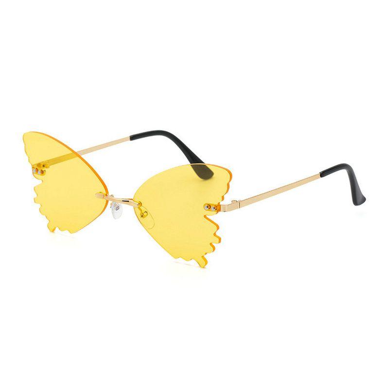 Moda sin montar mariposa gafas de sol mujeres vintage claro océano lente gafas hombres rosa amarillo gafas de sol tonos UV400 586