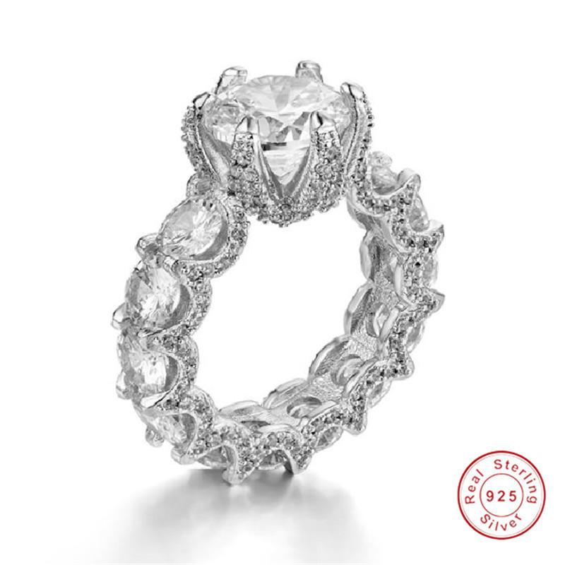 Dragon claws 925 Sterling Silver 3ct Created Rings for Women Luxury Wedding Engagement Diamond Ring finger Jewelry