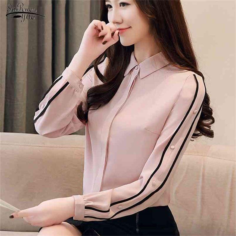 Blusas Autumn Shirt Long Sleeve Chiffon Blouse Office Lady Button Slim Women Top Korean Style Solid Clothing 1354 210415