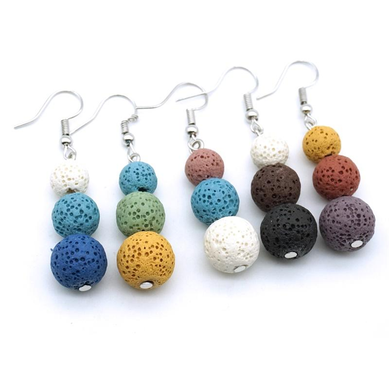 8mm 10mm 12mm Colorful Lava Stone Charms Earrings DIY Aromatherapy Essential Oil Diffuser Jewelry Women Volcanic beads Earring
