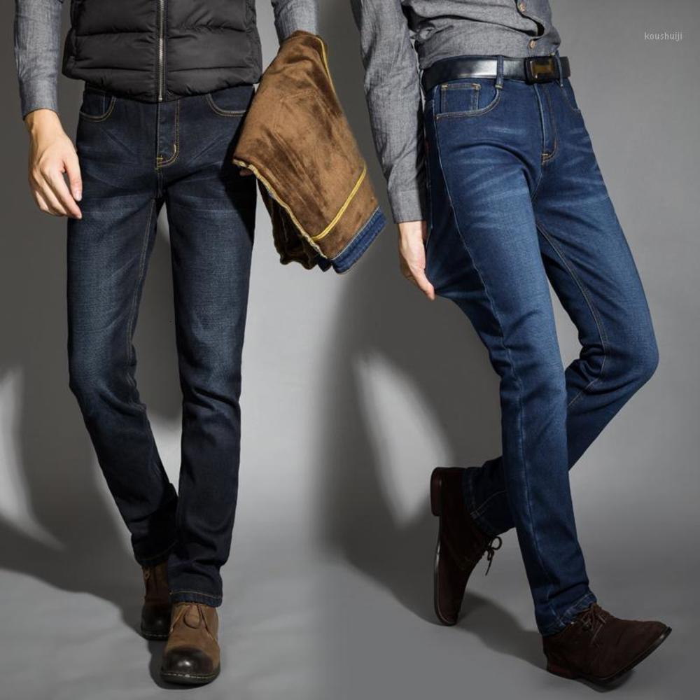 2019 겨울 브랜드 블랙 청바지 플러스 사이즈 40 패션 따뜻한 탄력 청바지 고품질 슬림 남성 바지 남자를위한 바지