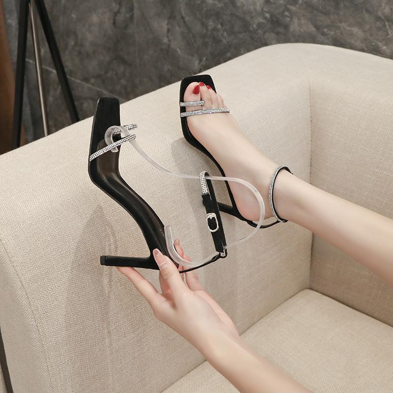 2021Summer New Ankle-Strap Open Toe Sandals Womens Stilotto Sexy Strass Internet Celebrity Fia Fairy Style Tacchi alti