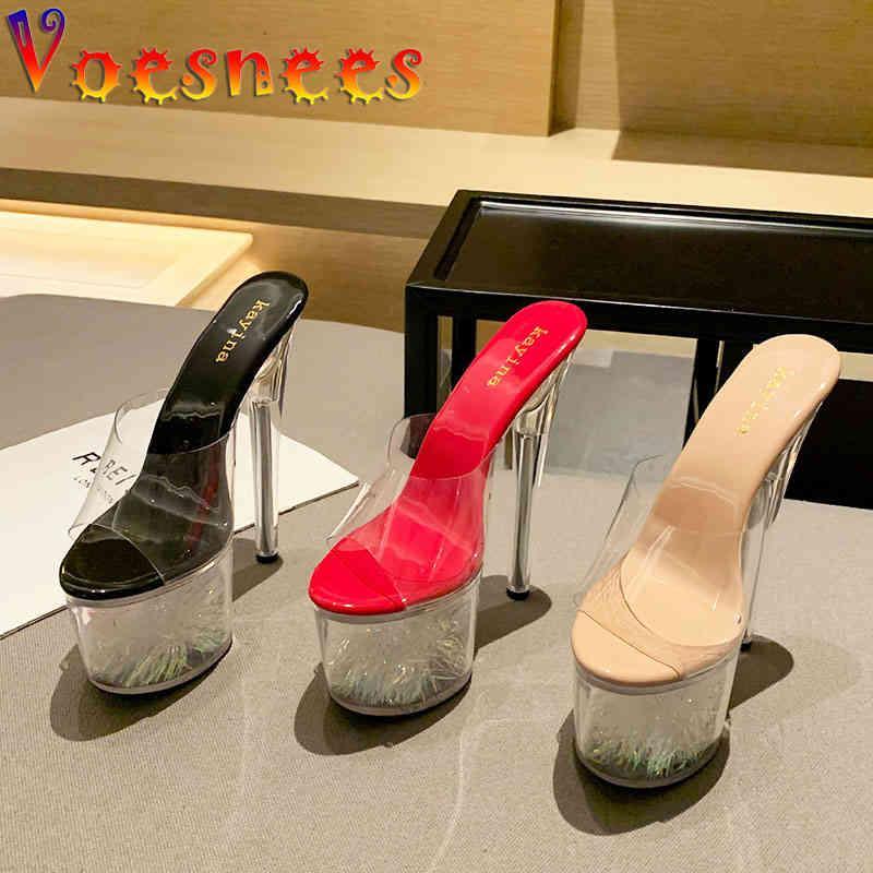 Sandals Voesnees Women Slipper 2021 Fashion Transparent Female Sandal Individuality Waterproof Platform 17CM Crystal High Heel Sho