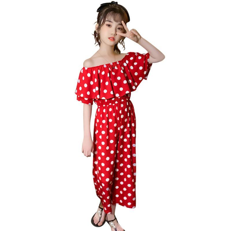 Monos Monos Monos Off-Shoulder Girls Romper Dot Pattern Mono Sunsuit Summer Adolescente Trajes de ropa