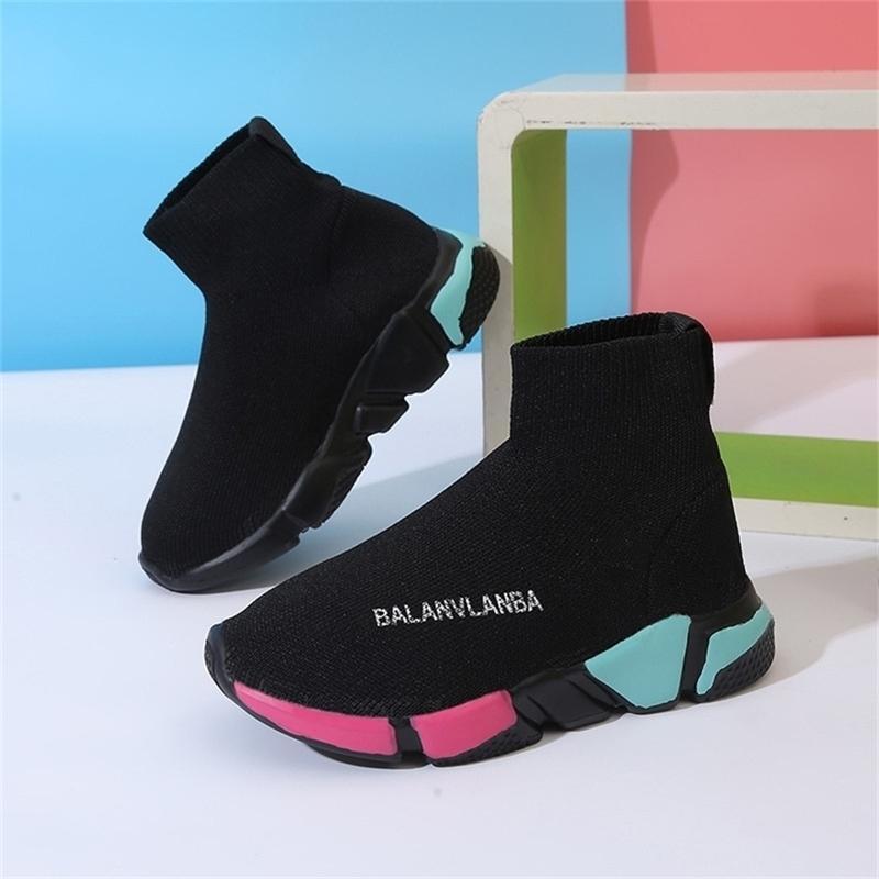 Spring New Outdoor Kid Shoes Traspirante Bambini da ragazze Stivali da scuola Stivali da scuola Elastico Scarpe casual Scarpe da sneakers 1-15 anni 20116