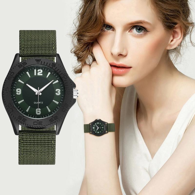 Wristwatches Women's Quartz Wrist Watches Clock Relogio Feminino Double Disc Imitation Canvas And Nylon Band Watch Analog