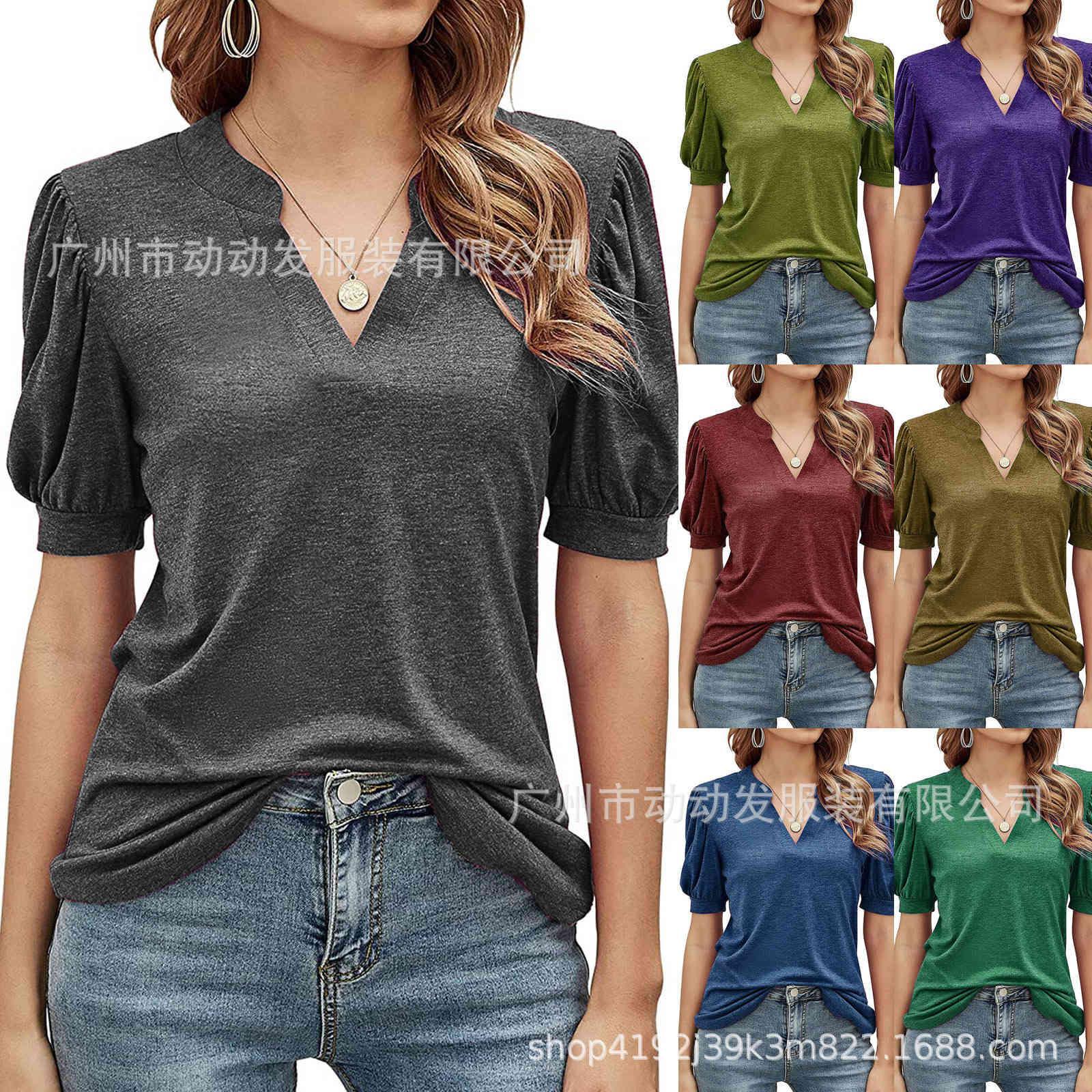 Verão Novo V-Pescoço de Manga Curta T-shirt Casual 2021 Loose Top Cor Sólida Moda Simples Mulheres Wear