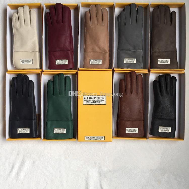 Diseñador 2021 mujeres guantes de cuero piel de oveja brillante hembra invierno cálido moda anticristo a prueba de viento