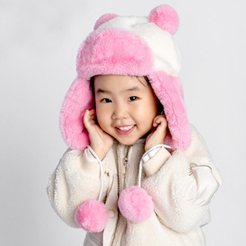어린이 겨울 모자 소프트 양털 스키어이프 모자 아이 소년 소녀 두꺼운 따뜻한 러시아어 아이 귀여운 귀 난방 트랩 포퍼 모자 모자