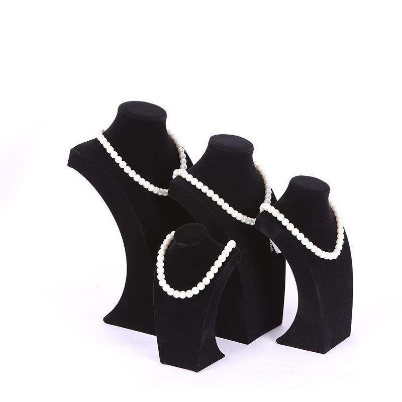 Flanellette portrait collier affichage porte-stand support bijoux mannequin buste pour collier pendentif fenêtre affichage 34cm ~ 20cm haigh 505 q2