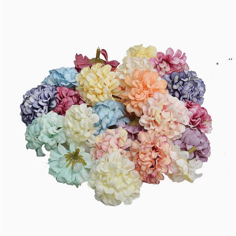 100 unids flores artificiales fiesta de navidad moda de moda de seda hortensia artificial ornamento casero decoración para el regalo del día de Monther NHE7126