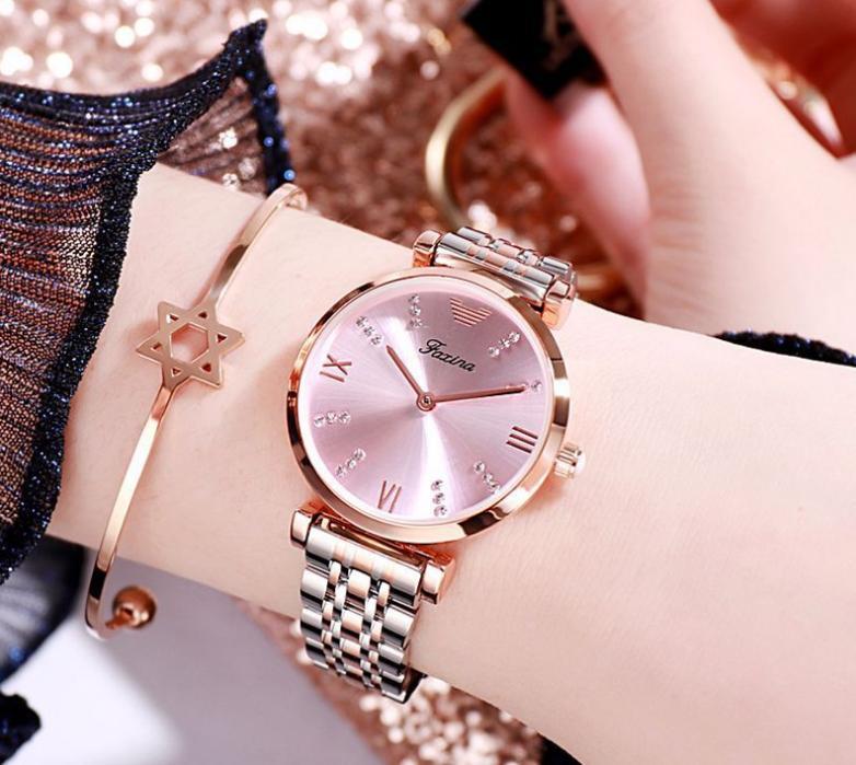 Faxina 브랜드 다이아몬드 마커 눈부신 부드러운 여성 시계 30mm 직경의 석영 숙 녀 시계 6mm 얇은 다이얼 여성 손목 시계 아름다운 선물