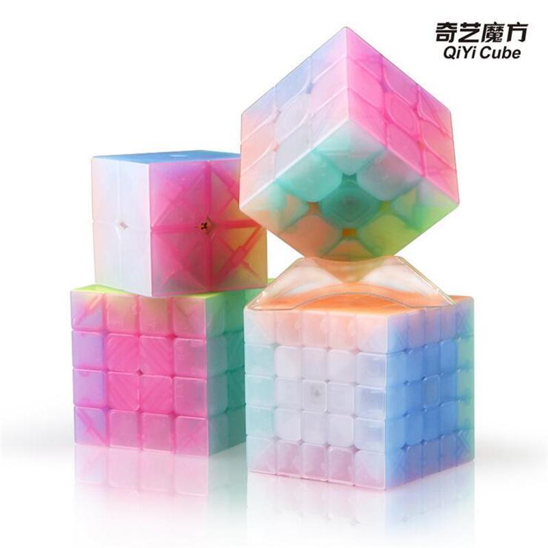 حار بيع Qiyi جيلي اللون ماجيك مكعب 2x2 3x3 4x4 5x5 الهرم المفاتيح سرعة مكعبات التعليمية لغز لعب للطفل