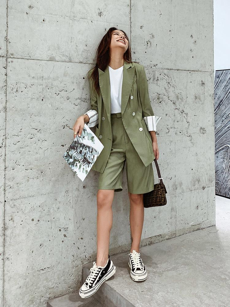 Women's Suits & Blazers Suit Shorts Female Simple Stitching Loose Two-piece Women Casual Formal Set Pant