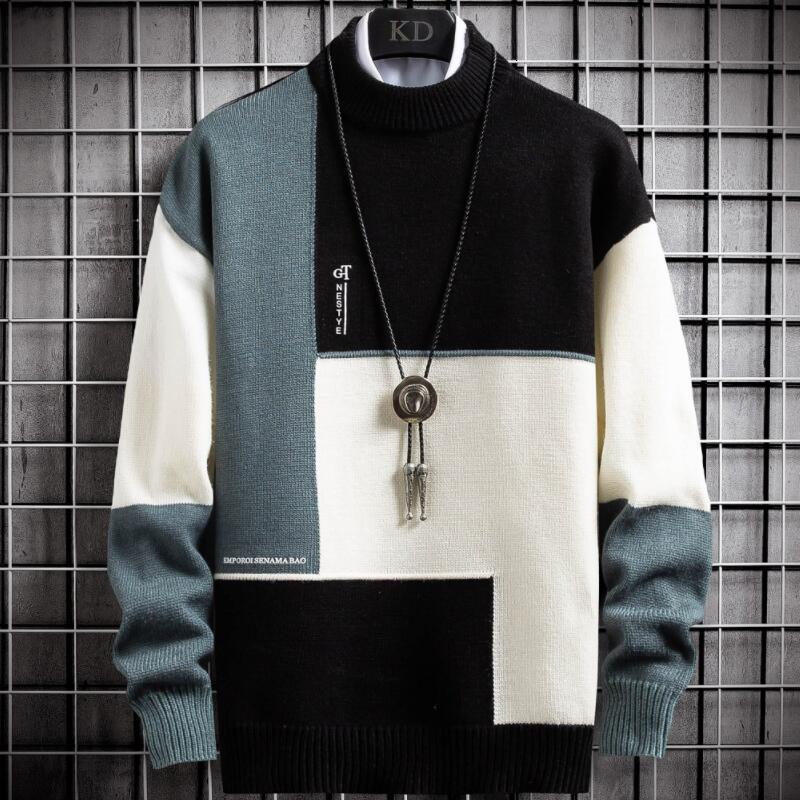 Nuevo Invierno Cashmere Sweat Suéter Hombres Turtleneck Mens Pullover Patchwork Slim Fit Suéteres Tops Pequeño Puente de Navidad Hombre